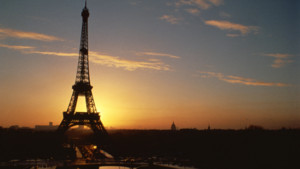 The Eiffel Tower at sunset, Paris, France