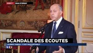 """Écoutes américaines : Fabius dénonce des """"pratiques inacceptables"""""""