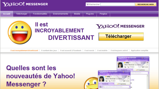 Page d'accueil de Yahoo ! Messenger