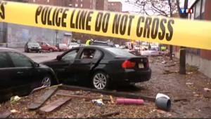Une rue de New York (Etats-Unis), après le passage de l'ouragan Sandy.