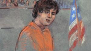 Dessin d'audience : Djokhar Tsarnaev comparaît pour la 1re fois pour les attentats de Boston, 11/7/13