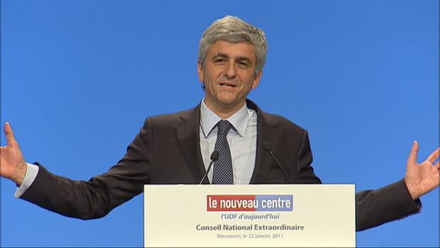 Hervé Morin lors d'un conseil national extraordinaire du Nouveau Centre le 22 janvier 2011