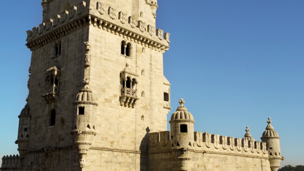Close up view of Belem Tower, Lisbon, Portugal