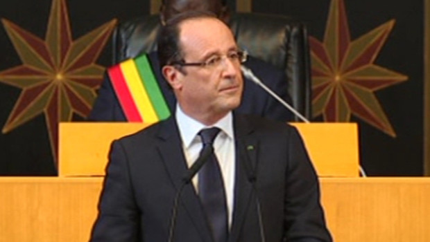 François Hollande à l'Assemblée nationale du Sénégal, le 12 octobre 2012.