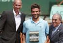 Guy Forget et le président de la Fédération française de tennis, Jean Gachassin, en compagnie d'Arnaud Clément, le 31 mai 2012.