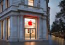L'Apple Store de Barcelone (Espagne) aux couleurs de la lutte contre le sida