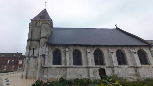 L'église Saint-Etienne, à Saint-Etienne-du-Rouvray, près de Rouen, où une prise d'otage à eu lieu ce mardi matin.