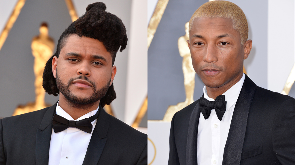 The Weeknd/Pharrell Williams sur le tapis rouge des Oscars 2016