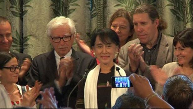 Aung San Suu Kyi s'exprime à l'Hôtel de Ville de Paris, 27/6/12