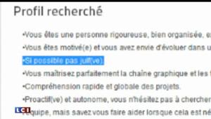 """Annonce graphiste """"si possible pas juif"""""""