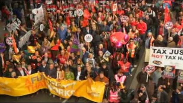 Manifestation à Londres (Royaume-Uni) contre l'austérité le 20/10/2012.