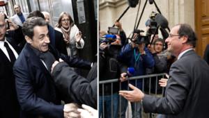 Nicolas Sarkozy et François Hollande devant leur QG, le 23 avril 2012