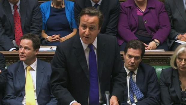 David Cameron s'expliquant devant la Chambre des communes sur le scandale des écoutes (20 juillet 2011)