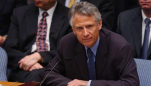 Dominique de Villepin s'exprime contre la guerre en Irak au Conseil de sécurité de l'Onu, New York, 9/3/2003