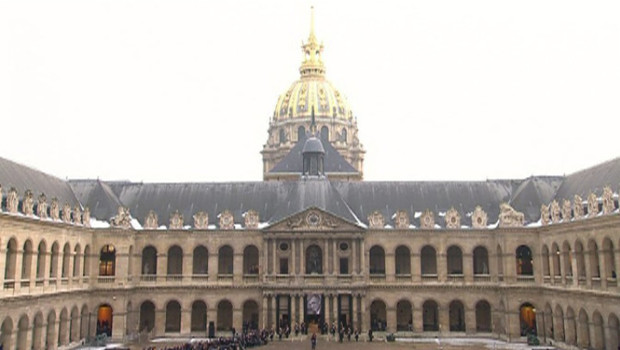 Les invalides  Paris. Le 14 mars Franois Hollande rendra un hommage solennel aux 4 soldats franais tus en Afghanistan le 9/6/2012. 