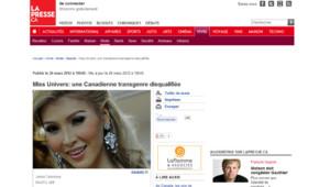 Miss Univers, une Canadienne transgenre disqualifiée - 27/03/2012