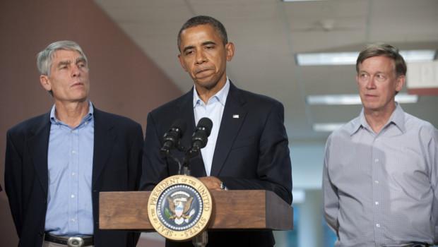 Barack Obama à l'hôpital universitaire d'Aurora après la fusillade meurtrière dans un cinéma (22 juillet 2012)