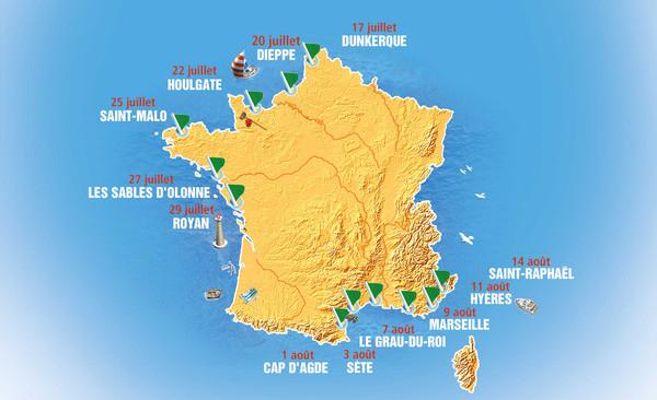 Tournée des plages : la carte