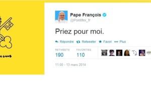 """""""Priez pour moi"""" : le tweet du pape François du 13 mars 2014, un an jour pour jour après son élection."""