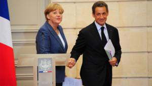 Nicolas Sarkozy et Angela Merkel le 16 août 2011 à l'Elysée