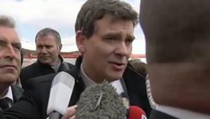 Arnaud Montebourg lors du lancement du Preziosa, fierté des chantiers de Saint-Nazaire (14 mars 2013)