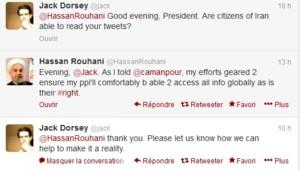Capture d'écran Twitter : échange entre Hassan Rohani et Jack Dorsey, 1/10/13