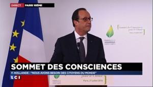 """François Hollande : """"Un sommet pour mettre la conscience au plus haut"""""""