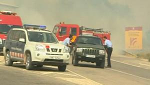 Les services de secours luttant contre les feux en Espagne (22 juillet 2009)