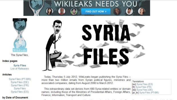 """Capture d'écran du site Wikileaks sur la publication des """"Syria files"""", 5/7/12"""