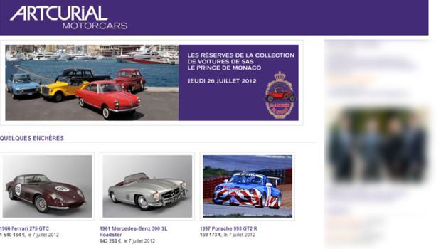 Capture du site d'Artcurial concernant la vente aux enchères des voitures d'Albert II (24/07/2012).
