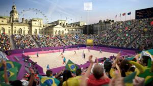 JO de Londres : dessin d'artiste du stade de beach-volley, site temporaire construit devant la caserne des Horse Guards