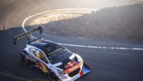 La Peugeot 208 T16 de Sébastien Loeb aux essais de la course de côte de Pikes Peak (États-Unis), les 8 et 9 juin 2013.