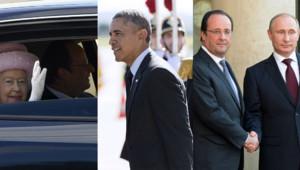Elizabeth II, Barack Obama Vladimir Poutine François Hollande