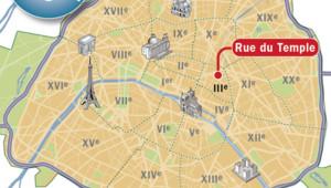 Plan de situation de la rue du Temple (Paris IIIe)