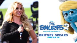 "Britney Spears, le 11 mai 2013. A droite, la pochette de ""Ooh La La"", son nouveau single."