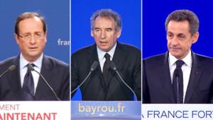 Nicolas Sarkozy, François Hollande et François Bayrou.