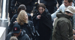 Jennifer Lawrence sur le tournage à NOisy-le-Grand du film Hunger Games 3