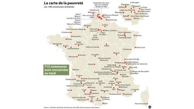 La carte de la pauvreté en France
