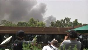 Fumée sur Tripoli après un raid de l'Otan, 7 juin 2011