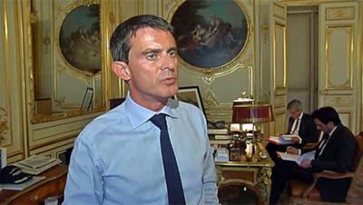 Manuel Valls face aux caméras de TF1, le 15 septembre 2014