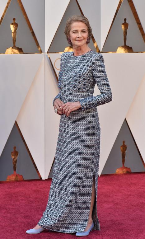 Charlotte Rampling sur le tapis rouge des Oscars 2016
