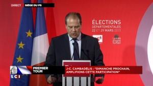 """Cambadélis : """"Dimanche prochain, construisons les digues"""" contre la droite et le FN"""