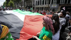 Manifestation de soutien aux Palestiniens dans les rues de Paris, le 2 août 2014.