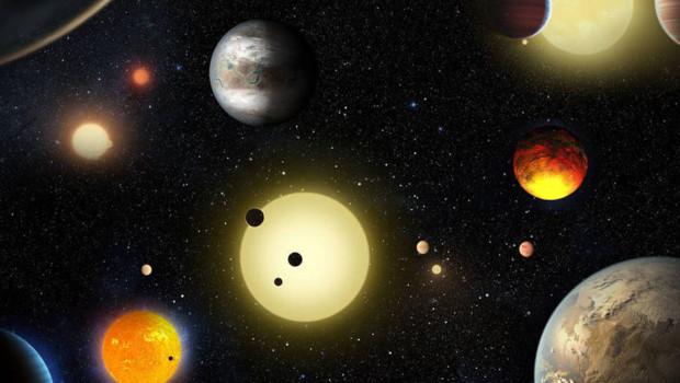 Une vue d'artiste de certaines planètes découvertes par le télescope Kepler.