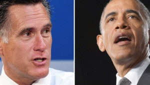 Photo-montage : Mitt Romney (g.) et Barack Obama (d.)