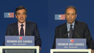 François Fillon et Jean-François Copé à la réunion des cadres de l'UMP à Paris le 26 mai 2012.