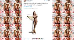 Une coupe de champagne, moulée sur le sein gauche du top model britannique Kate Moss, pour célébrer ses 25 ans de carrière dans la mode