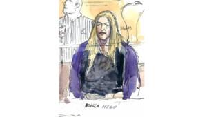 Esquisse de Noëlla Hégo, ex-compagne de Stéphane Moitoiret, sur le banc des accusés