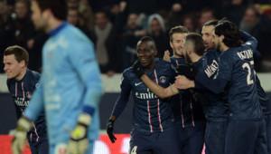 Grâce à Kévin Gameiro (à gauche), le PSG s'est imposé face à Montpellier, le 29 mars 2013.
