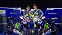 Valentino Rossi et Jorge Lorenzo à Madrid le 28 janvier 2015 à la présentation de la Yamaha YZR-M1 engagée en championnat MotoGP